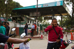 Petrol shortage crisis in Kathmandu, Nepal. The petrol crisis in Nepal due to India blocking access of petrol deliveries into Nepal on the Nepal/India border stock image