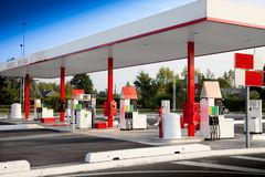 Petrol staion for self service fuel stock images