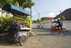 Petrol stall and cyclo taxi in solo city indonesia. Petrol stall and cyclo becak taxi in solo city indonesia stock photography