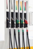 Petrol-station. Gas nozzles at the gas station Stock Images