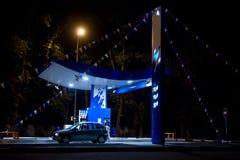 Petrol station. At night . wigwag royalty free stock photos