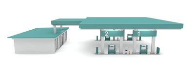 Petrol station. Side view of petrol station, 3d rendered image Royalty Free Stock Photos
