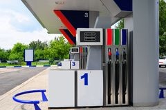 Petrol Station. Several Gasoline Pump Nozzles At Petrol Station stock photography