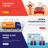 Petrol Station Banners Set. Petrol station horizontal banners set with gas usage symbols flat isolated vector illustration Royalty Free Stock Images