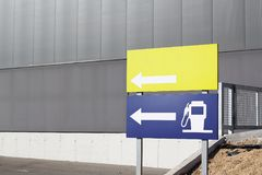 Petrol station and blank signals. With arrow royalty free stock photography