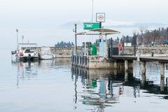 Petrol station for boats on Lake Garda. Stock Photos