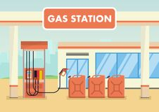 Petrol station with cans of gasoline. Vector illustration. Oil industry concept. Fuel manufacturing concept Royalty Free Stock Photos