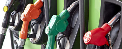 Petrol station. Detail of a petrol pump in a petrol station stock photo