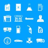 Petrol station gas fuel icons set, simple style stock illustration