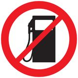 Petrol station icon not allowed sign Stock Images