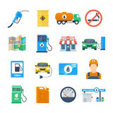 Petrol station icons in a flat style. Attributes of a gas station of a column, a canister, a petrol pump, a worker, a cafe. Isolated vector illustration Stock Image