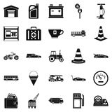 Petrol station icons set, simple style Stock Photos