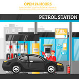 Petrol Station Illustration. Petrol station flat composition with worker at car and open 24 hours advertising vector illustration Royalty Free Stock Images