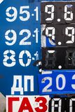 Petrol station information board. Prices on the information board of the petrol station. Numbers on the metal surface with mechanically movable covers. Cyrillic stock images