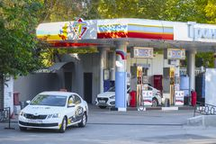 Petrol station in Moscow. Moscow, Russia - October, 12, 2018: the image of a petrol station in Moscow royalty free stock photo