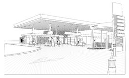 Petrol Station outline View. Illustrated outlinel view of a Petrol station. Vector Image. Detailed view of car wash area, ID pole, pumps, lights, floor etc vector illustration