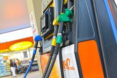 Petrol Station. Or Filling Station is a facility that sells fuel and engine lubricants for motor vehicles stock image