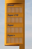 Petrol station price board Royalty Free Stock Photos