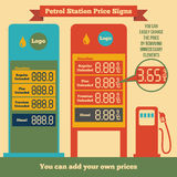 Petrol station price signs. Where you can add your own prices Royalty Free Stock Image