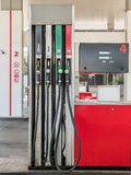 Petrol station pump. S with diesel, unleaded 95 and 98 fuel distributor stock photo
