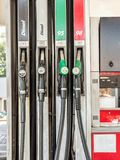 Petrol station pump. S with diesel, unleaded 95 and 98 fuel distributor royalty free stock photo