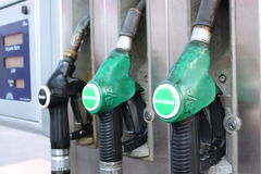 Petrol station. Pumps diesel and super Stock Image