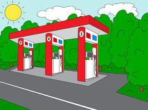 Petrol station on the roan near the forest Stock Photo