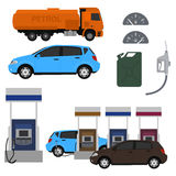 Petrol station. Set vector design. Flat illustration with cars. Fuel canister Royalty Free Stock Photo