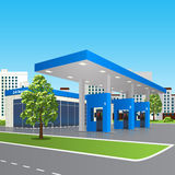 Petrol station with a small shop and reflection. Filling station with a small shop and reflection in perspective over city street background Royalty Free Stock Photo