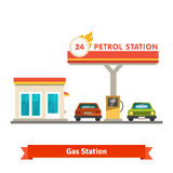 Petrol station with two cars. Flat vector illustration  on white background Stock Photography