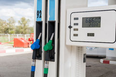 Petrol-station. Two gas pumps of green and blue colors Royalty Free Stock Photo