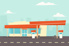 Petrol station vector. Cartoon simple flat vector image Royalty Free Stock Images