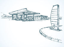 Petrol station. Vector drawing Stock Images