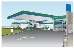 Petrol Station Vector. Illustrated coloured view of a Petrol station. Vector Image.  Detailed view of car wash area, ID pole, pumps, lights, floor etc Stock Photos