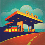 Petrol station. Vector illustration of a stylized effect of old movie film on petrol station on the highway Stock Images