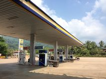 A petrol station in Vientiane, Laos. VIENTIANE, LAOS - OCT 19: A petrol station in Vientiane, Laos on the 19th October, 2015 stock images