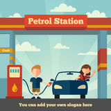 The Petrol station. Young man helps girl to fuel her car. The Petrol station concept Royalty Free Stock Photography