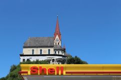 Petrol Stations, Church, Shield Stock Photography