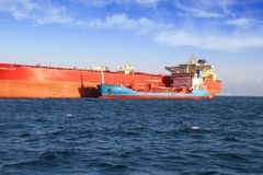 Petrol tanker anchored in Algeciras bay. Royalty Free Stock Photography