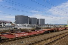 Petrol tanks and train line Royalty Free Stock Photos