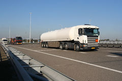 Petrol Truck on the Freeway. Truck carrying petrochemical liquid from Pernis, Holland Stock Images