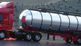 Petroleiro da gasolina, reboque do óleo, caminhão na estrada Condução muito rápida Auto animação realística ilustração royalty free