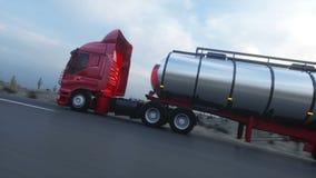 Petroleiro da gasolina, reboque do óleo, caminhão na estrada Condução muito rápida Auto animação realística ilustração do vetor