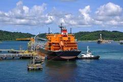 Petroleiro do gás na porta Imagem de Stock Royalty Free