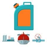 Petroleiro, parada da tubulação, refinaria de petróleo, cartucho com gasolina Ícones ajustados da coleção da indústria petroleira Foto de Stock