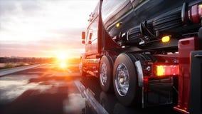 Petrolero de la gasolina, remolque del aceite, camión en la carretera Conducción muy rápida representación 3d stock de ilustración