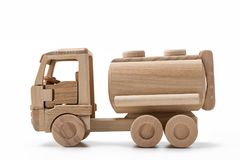 Petrolero del remolque, juguete de madera Imágenes de archivo libres de regalías