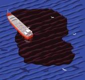 Petrolero y derrame de petróleo ilustración del vector