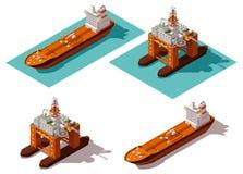 Petrolero y plataforma petrolera isométricos del vector