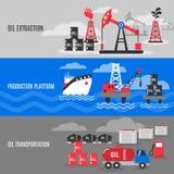 Petroleum Banner Set. Petroleum horizontal banner set with oil extraction transportation and production platform elements  vector illustration Royalty Free Stock Image